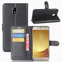 Litchee Booktype Hoesje Samsung Galaxy J7 (2017) - Zwart