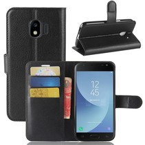 Litchee Booktype Hoesje Samsung Galaxy J2 Pro 2018 - Zwart