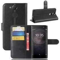 Litchee Booktype Hoesje Sony Xperia XA2 - Zwart