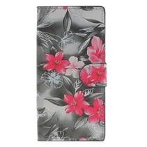 Booktype Hoesje Sony Xperia XA2 - Roze Bloemen