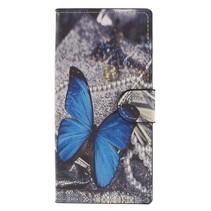 Booktype Hoesje Sony Xperia XA2 - Blauwe vlinder