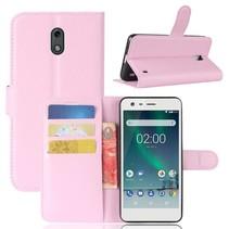 Litchee Booktype Hoesje Nokia 2 - Roze