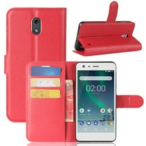Litchee Booktype Hoesje Nokia 2 - Rood
