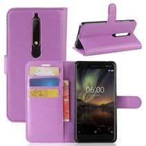 Litchee Booktype Hoesje Nokia 6.1 - Paars