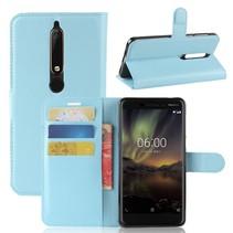 Litchee Booktype Hoesje Nokia 6 (2018) - Blauw