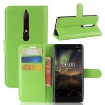 Litchee Booktype Hoesje Nokia 6 (2018) - Groen