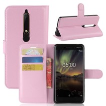 Litchee Booktype Hoesje Nokia 6 (2018) - Roze