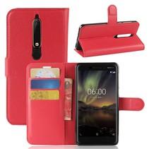Litchee Booktype Hoesje Nokia 6.1 - Rood
