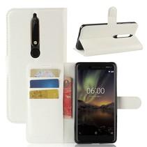 Litchee Booktype Hoesje Nokia 6.1 - Wit
