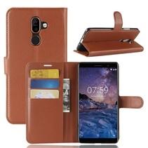 Litchee Booktype Hoesje Nokia 7 Plus - Bruin