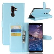 Litchee Booktype Hoesje Nokia 7 Plus - Blauw