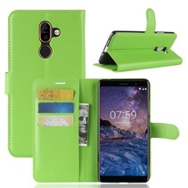 Litchee Booktype Hoesje Nokia 7 Plus - Groen