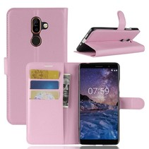 Litchee Booktype Hoesje Nokia 7 Plus - Roze