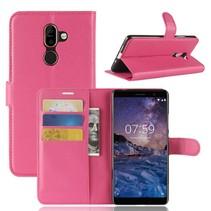 Litchee Booktype Hoesje Nokia 7 Plus - Donkerroze