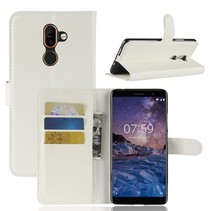 Litchee Booktype Hoesje Nokia 7 Plus - Wit