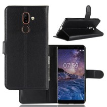 Litchee Booktype Hoesje Nokia 7 Plus - Zwart