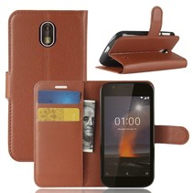 Litchee Booktype Hoesje Nokia 1 - Bruin