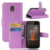Litchee Booktype Hoesje Nokia 1 - Paars