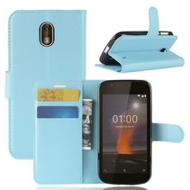 Litchee Booktype Hoesje Nokia 1 - Blauw