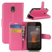 Litchee Booktype Hoesje Nokia 1 - Donkerroze