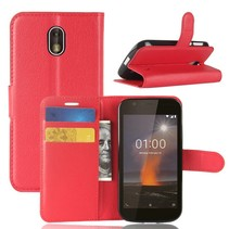 Litchee Booktype Hoesje Nokia 1 - Rood