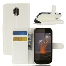 Litchee Booktype Hoesje Nokia 1 - Wit