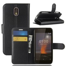 Litchee Booktype Hoesje Nokia 1 - Zwart