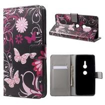 Booktype Hoesje Sony Xperia XZ2 - Roze Vlinders