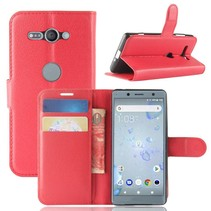 Litchee Booktype Hoesje Sony Xperia XZ2 Compact - Rood