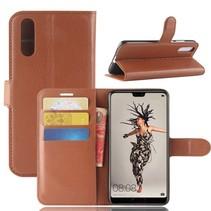 Litchee Booktype Hoesje Huawei P20 - Bruin