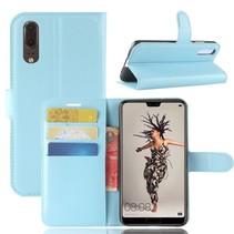 Litchee Booktype Hoesje Huawei P20 - Blauw