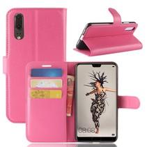 Litchee Booktype Hoesje Huawei P20 - Roze