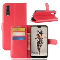 Litchee Booktype Hoesje Huawei P20 - Rood