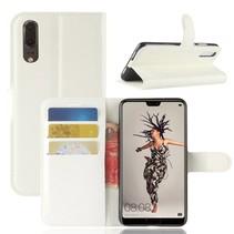 Litchee Booktype Hoesje Huawei P20 - Wit