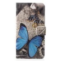 Booktype Hoesje Huawei P20 - Blauwe vlinder