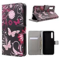 Booktype Hoesje Huawei P20 - Roze Vlinders