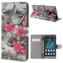 Booktype Hoesje Huawei P9 - Roze bloemen