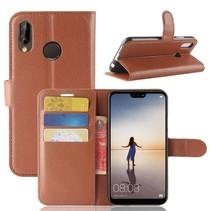 Litchee Booktype Hoesje Huawei P20 Lite - Bruin