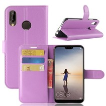 Litchee Booktype Hoesje Huawei P20 Lite - Paars