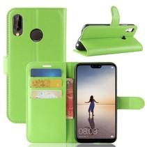 Litchee Booktype Hoesje Huawei P20 Lite - Groen