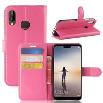 Litchee Booktype Hoesje Huawei P20 Lite - Roze