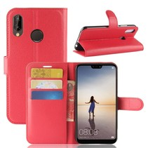 Litchee Booktype Hoesje Huawei P20 Lite - Rood