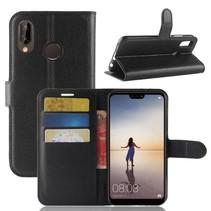 Litchee Booktype Hoesje Huawei P20 Lite - Zwart