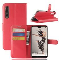 Litchee Booktype Hoesje Huawei P20 Pro - Rood