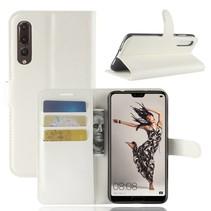 Litchee Booktype Hoesje Huawei P20 Pro - Wit