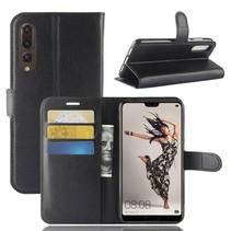 Litchee Booktype Hoesje Huawei P20 Pro - Zwart