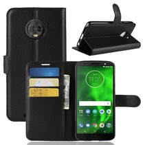 Litchee Booktype Hoesje Motorola Moto G6 - Zwart