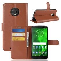 Litchee Booktype Hoesje Motorola Moto G6 - Bruin