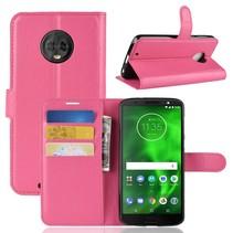 Litchee Booktype Hoesje Motorola Moto G6 - Roze