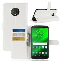 Litchee Booktype Hoesje Motorola Moto G6 Plus - Wit